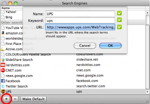 Step 3: Click on the '+' and add the search engine settings (OS X)