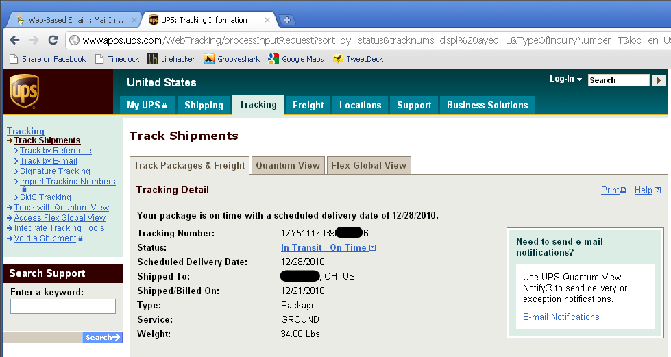 Adding a Search Engine in Chrome to Track UPS Shipments