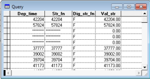 Table showing query results.